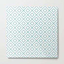 Aqua Diamond Pattern 2 Metal Print