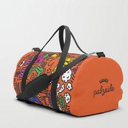 Orange Doodle Monster World Duffle Bag