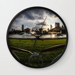 Fisheye view of Chicago's Buckingham Fountain Wall Clock