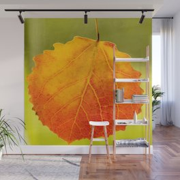 Orange Leaf Vivid Green Background #decor #society6 #buyart Wall Mural