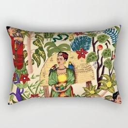 Frida's Garden, Casa Azul Lush Greenery Frida Kahlo Landscape Painting Rectangular Pillow
