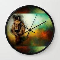 donkey Wall Clocks featuring Donkey by Ginkelmier