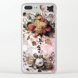Victorian flowers and fruits Clear iPhone Case
