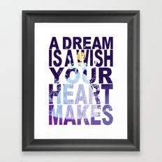 Disney's Cinderella A Dream is a Wish Your Heart Makes in Purple Framed Art Print