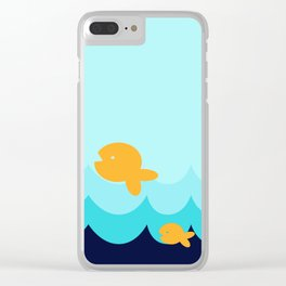 Beach Series Aqua- Gold Fish Animals in the deep Sea Clear iPhone Case