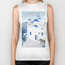 Vintage Santorini poster Biker Tank