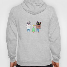 Cats in Sweaters Trimming the Christmas Tree Hoody
