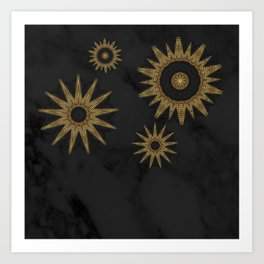 Gold Flower Mandalas over Black Marble Art Print