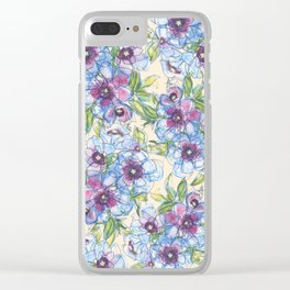 Big Blue Poppies Clear iPhone Case