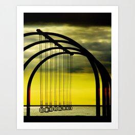 Beach Rings on Santa Monica Beach Art Print