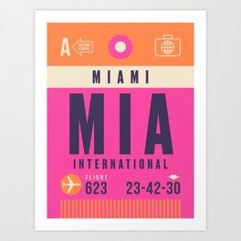 Retro Airline Luggage Tag - MIA Miami Art Print