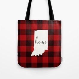 Indiana is Home - Buffalo Check Plaid Tote Bag