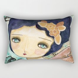 Charity Wings Watercolor Collage Rectangular Pillow