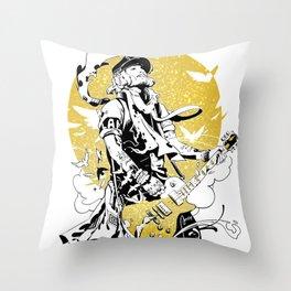 Guitar Hero Johnny Depp Throw Pillow
