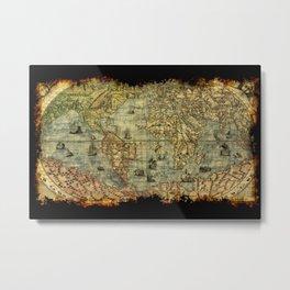 Vintage Old World Map Metal Print