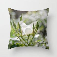 White Flower Bokeh Delight Throw Pillow