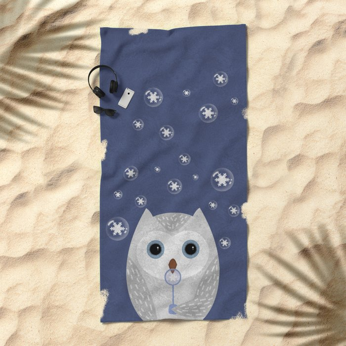 Christmas Owl Blue Marble Beach Towel