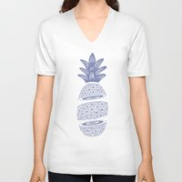 pineapples V-neck T-shirts featuring Pineapples (Light/Sliced) by Norman Duenas
