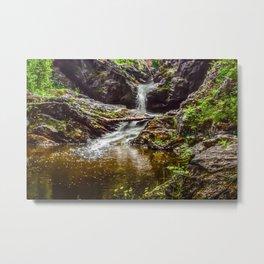 Ducklings swimming at the waterfall Metal Print