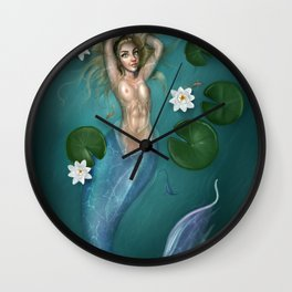 Lilys and the Mermaid Wall Clock