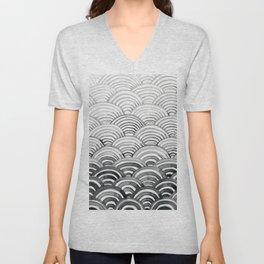 Gray Scallop Pattern Unisex V-Neck