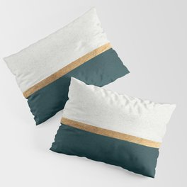 Deep Green, Gold and White Color Block Pillow Sham