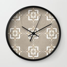 Taupe and Ivory Mosaic Pattern Wall Clock