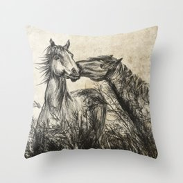Kiss_Charcoal drawing vintage paper Throw Pillow