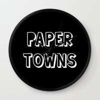 john green Wall Clocks featuring Paper Towns John Green by denise