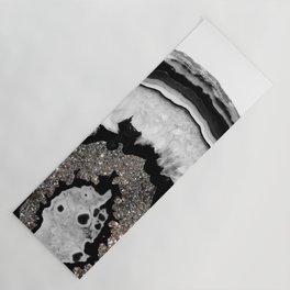 Gray Black White Agate with Silver Glitter #1 #gem #decor #art #society6 Yoga Mat