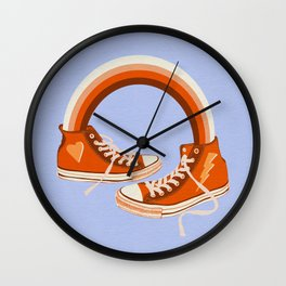 Red Sneakers and Rainbow Wall Clock