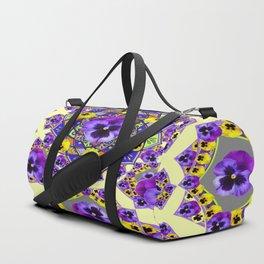 MANDALA OF PURPLE & YELLOW PANSY GARDEN Duffle Bag