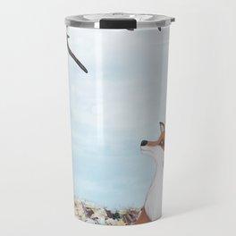 fox and eastern bluebirds Travel Mug