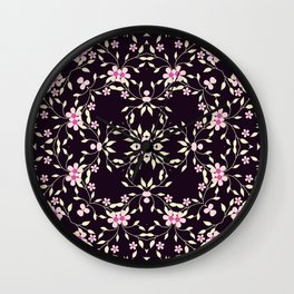 Kaleidoscope Pink Little Daisies Design Print Wall Clock