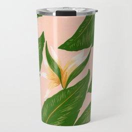 Pink Bird Of Paradise Print Travel Mug
