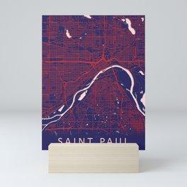 Saint Paul, MN, USA, Blue, White, City, Map Mini Art Print
