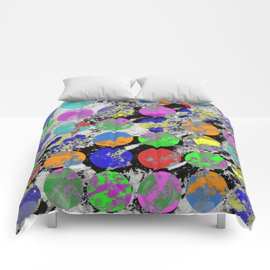 Textured Circles - Abstract, geometric, textured artwork Comforters