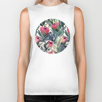 leaf Biker Tanks featuring Painted Protea Pattern by micklyn