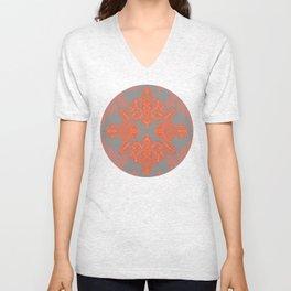 Burnt Orange, Coral & Grey doodle pattern Unisex V-Neck