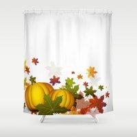 thanksgiving Shower Curtains featuring Thanksgiving Pumpkins by FantasyArtDesigns