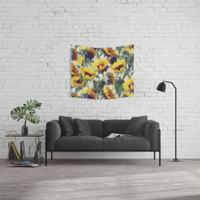 Sunflowers Forever Tapestry by micklyn Editions