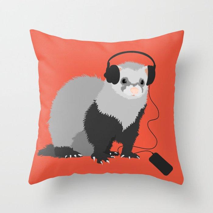 Music Loving Ferret Throw Pillow