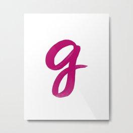 Scripted Monogram G Metal Print