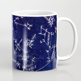 French October Star Map in Deep Navy & Black, Astronomy, Constellation, Celestial Coffee Mug