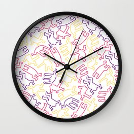 Contemporary Street Art Keith Haring Pattern Figures Color #6W Wall Clock