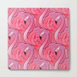 Cute floral flamingo Metal Print