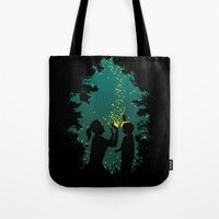 fireflies Tote Bags featuring Fireflies by pigboom el crapo