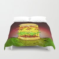 ufo Duvet Covers featuring UFO Burger by MUSENYO