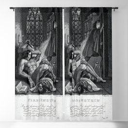 Victor Frankenstein and His Monster Engraving Blackout Curtain