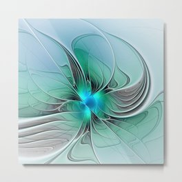 Abstract With Blue 2, Fractal Art Metal Print